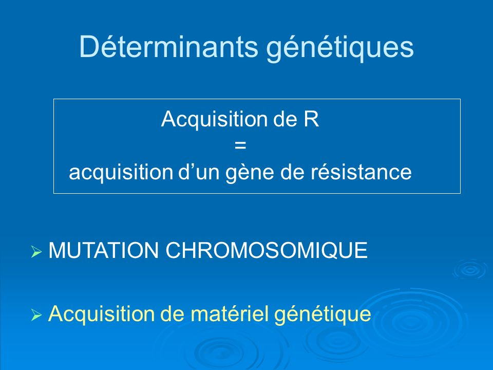 Acquisition de R = acquisition dun gène de résistance MUTATION CHROMOSOMIQUE Acquisition de matériel génétique