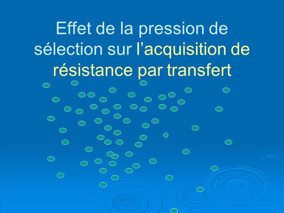Effet de la pression de sélection sur lacquisition de résistance par transfert