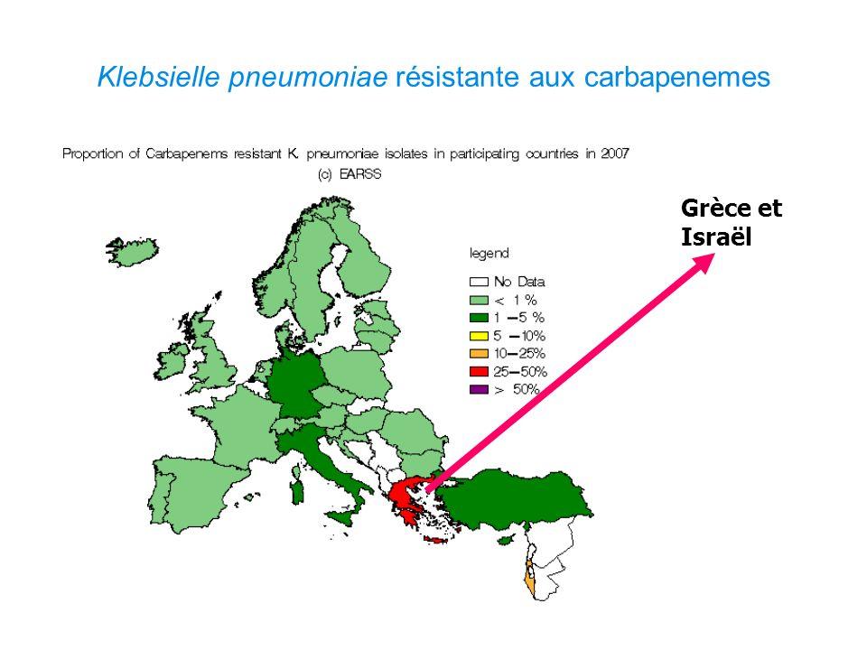 Klebsielle pneumoniae résistante aux carbapenemes Grèce et Israël