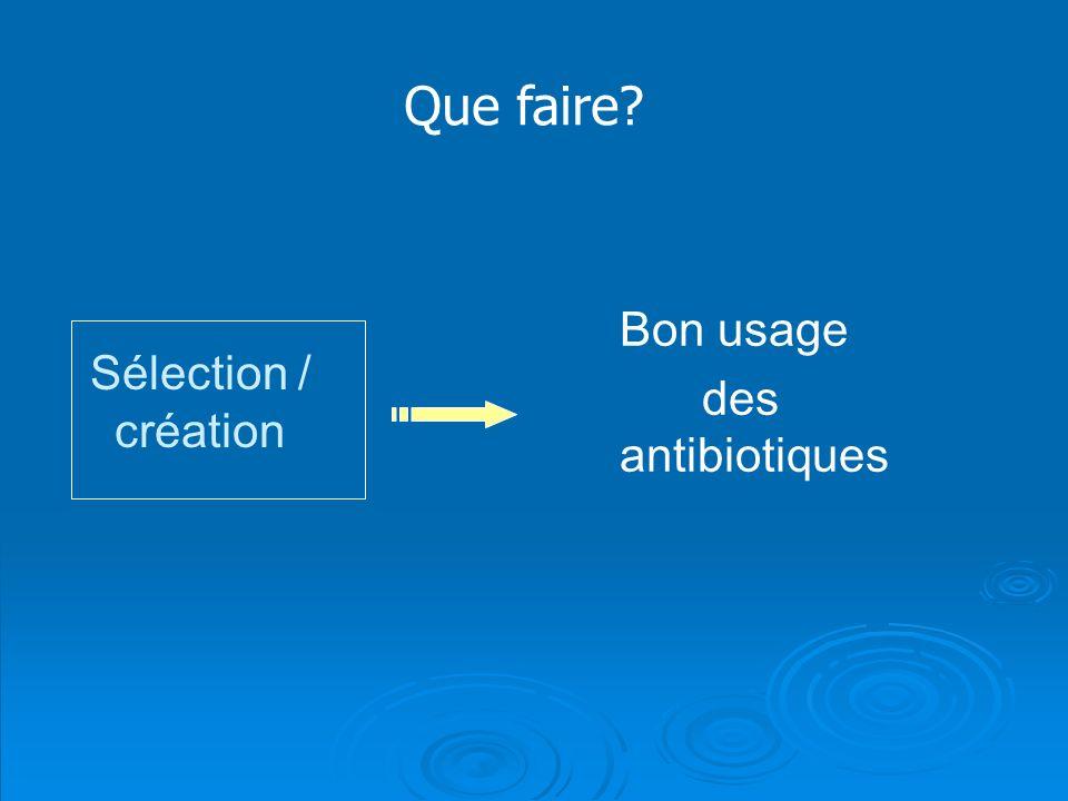 Sélection / création Bon usage des antibiotiques Que faire?