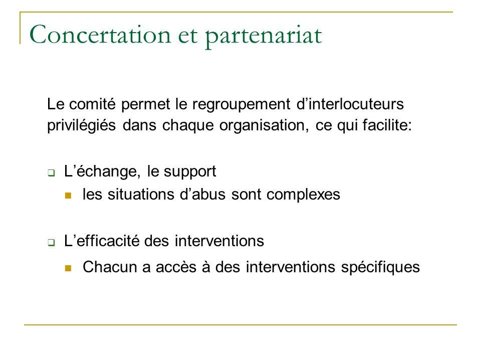 Concertation et partenariat Le comité permet le regroupement dinterlocuteurs privilégiés dans chaque organisation, ce qui facilite: Léchange, le suppo