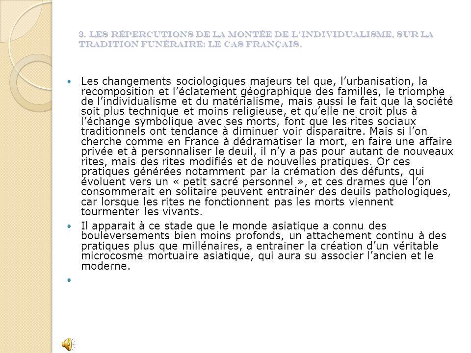 3. Les répercutions de la montée de lindividualisme, sur la tradition funéraire: le cas français.