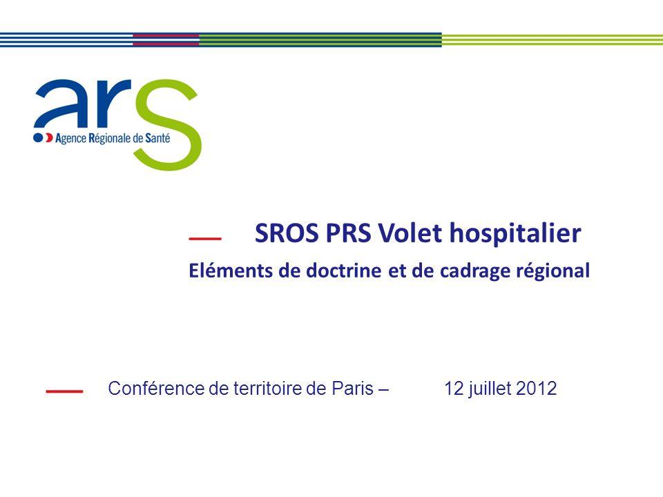 SROS PRS Volet hospitalier Eléments de doctrine et de cadrage régional Conférence de territoire de Paris – 12 juillet 2012