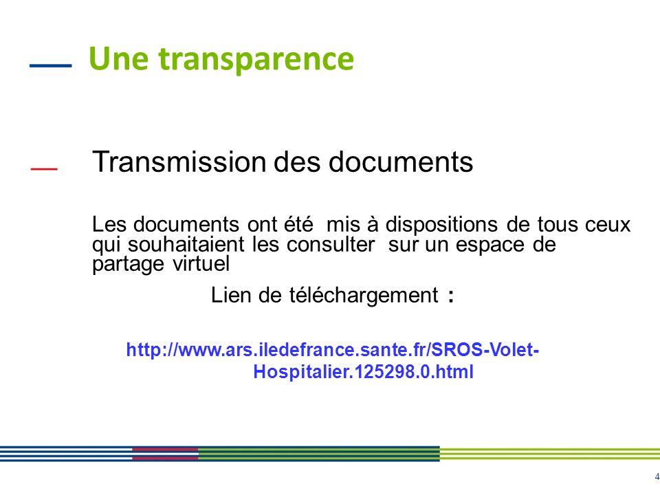 4 Une transparence Transmission des documents Les documents ont été mis à dispositions de tous ceux qui souhaitaient les consulter sur un espace de partage virtuel Lien de téléchargement : http://www.ars.iledefrance.sante.fr/SROS-Volet- Hospitalier.125298.0.html