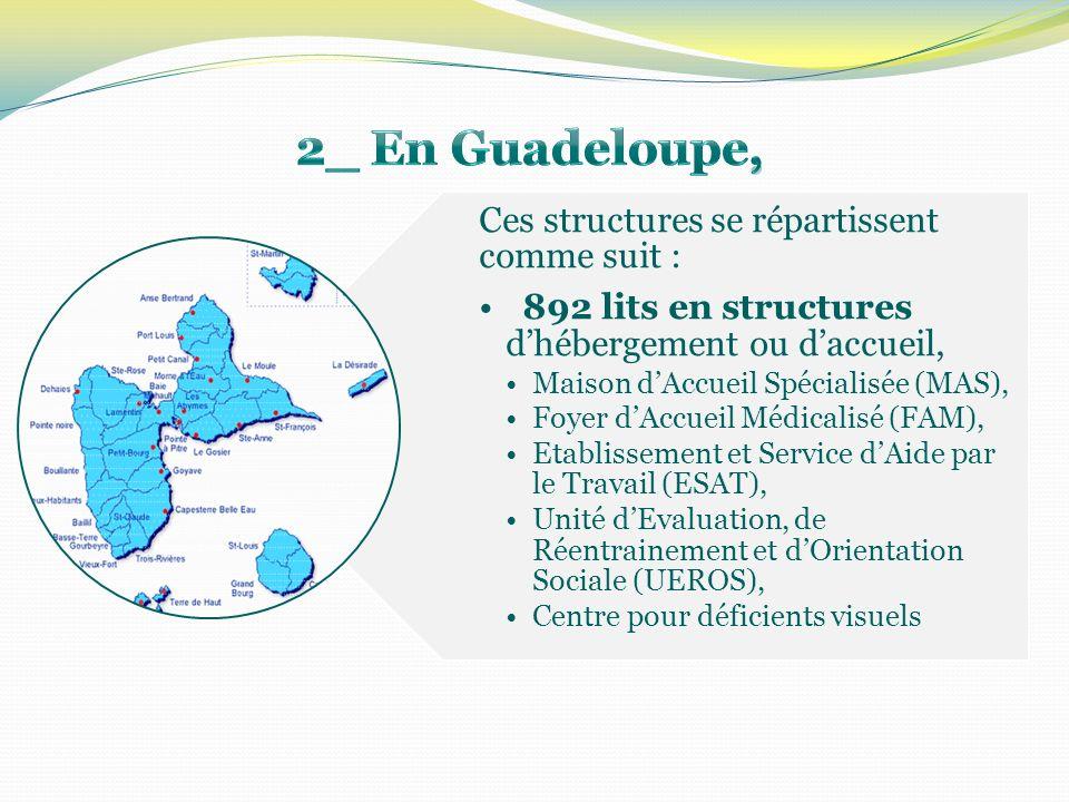 Ces structures se répartissent comme suit : 892 lits en structures dhébergement ou daccueil, Maison dAccueil Spécialisée (MAS), Foyer dAccueil Médical