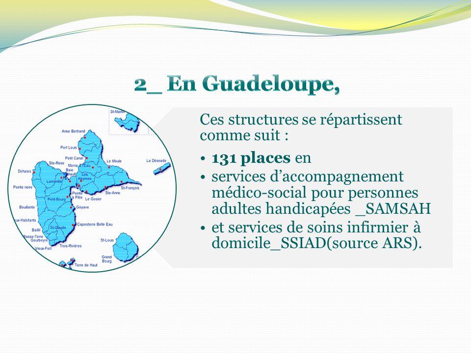 Ces structures se répartissent comme suit : 131 places en services daccompagnement médico-social pour personnes adultes handicapées _SAMSAH et services de soins infirmier à domicile_SSIAD(source ARS).