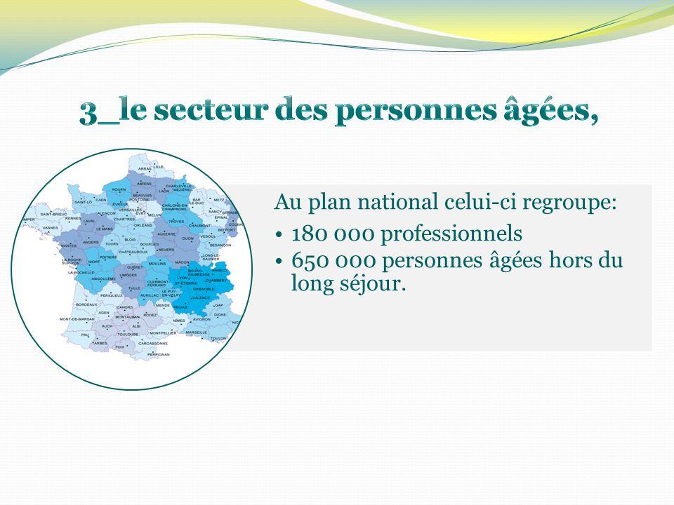 Au plan national celui-ci regroupe: 180 000 professionnels 650 000 personnes âgées hors du long séjour.