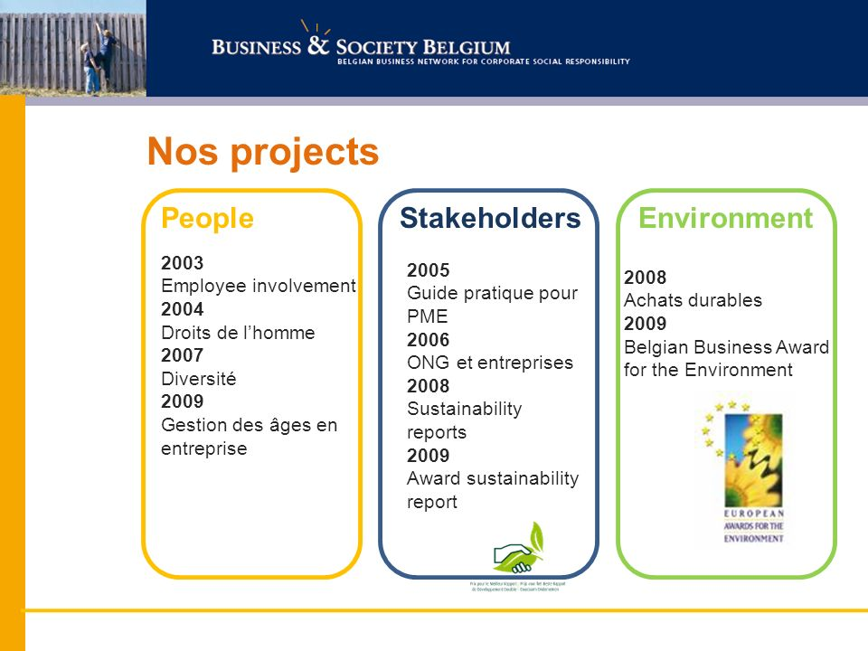 Nos projects PeopleStakeholdersEnvironment 2005 Guide pratique pour PME 2006 ONG et entreprises 2008 Sustainability reports 2009 Award sustainability report 2008 Achats durables 2009 Belgian Business Award for the Environment 2003 Employee involvement 2004 Droits de lhomme 2007 Diversité 2009 Gestion des âges en entreprise