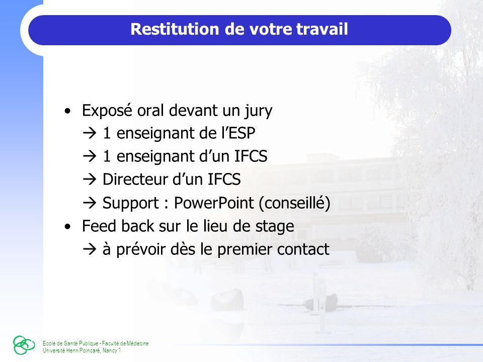 Ecole de Santé Publique - Faculté de Médecine Université Henri Poincaré, Nancy 1 Restitution de votre travail Exposé oral devant un jury 1 enseignant