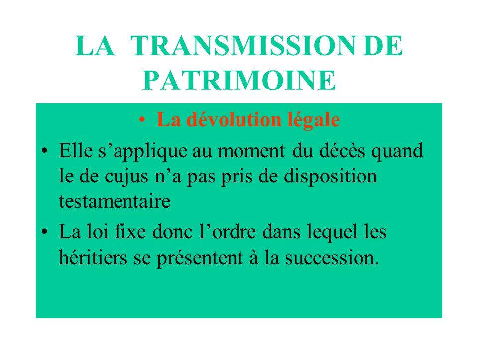 LA TRANSMISSION DE PATRIMOINE La dévolution légale Elle sapplique au moment du décès quand le de cujus na pas pris de disposition testamentaire La loi