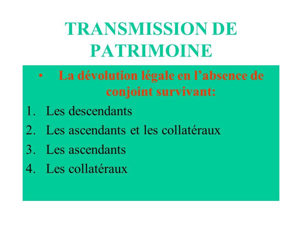 TRANSMISSION DE PATRIMOINE La dévolution légale en labsence de conjoint survivant: 1.Les descendants 2.Les ascendants et les collatéraux 3.Les ascenda
