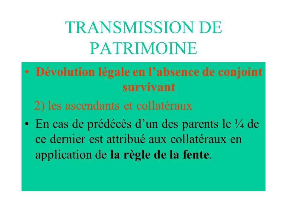 TRANSMISSION DE PATRIMOINE Dévolution légale en labsence de conjoint survivant 2) les ascendants et collatéraux En cas de prédécès dun des parents le