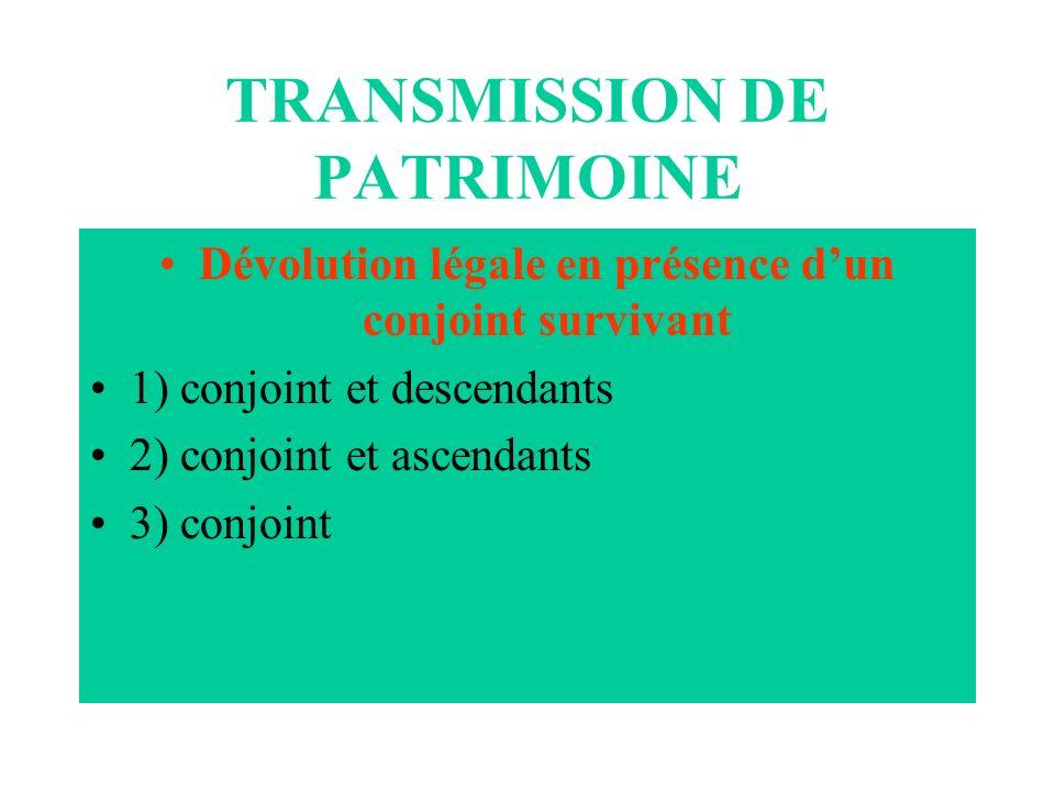TRANSMISSION DE PATRIMOINE Dévolution légale en présence dun conjoint survivant 1) conjoint et descendants 2) conjoint et ascendants 3) conjoint