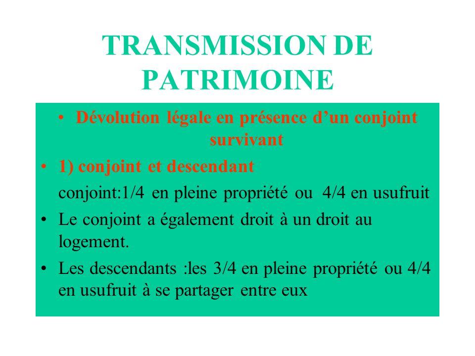 TRANSMISSION DE PATRIMOINE Dévolution légale en présence dun conjoint survivant 1) conjoint et descendant conjoint:1/4 en pleine propriété ou 4/4 en u