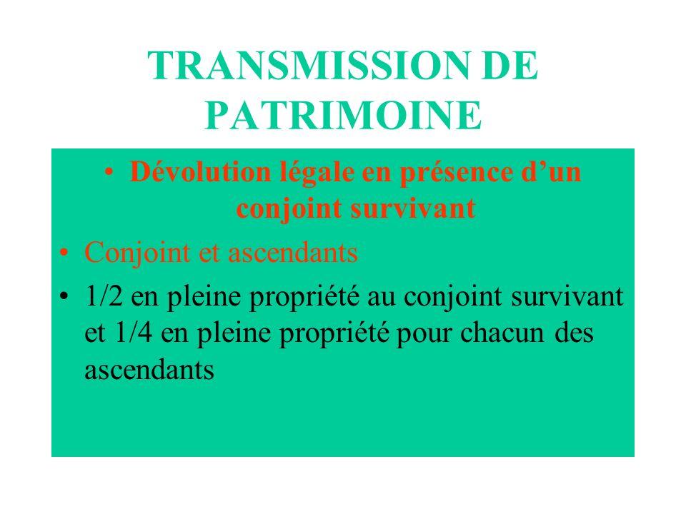 TRANSMISSION DE PATRIMOINE Dévolution légale en présence dun conjoint survivant Conjoint et ascendants 1/2 en pleine propriété au conjoint survivant e