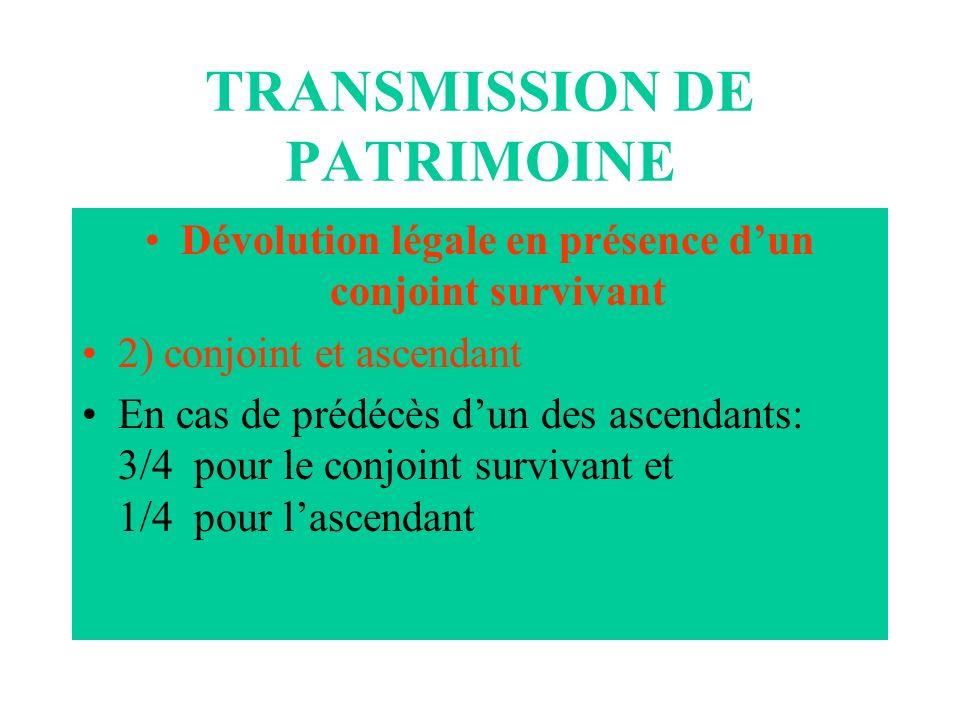 TRANSMISSION DE PATRIMOINE Dévolution légale en présence dun conjoint survivant 2) conjoint et ascendant En cas de prédécès dun des ascendants: 3/4 po