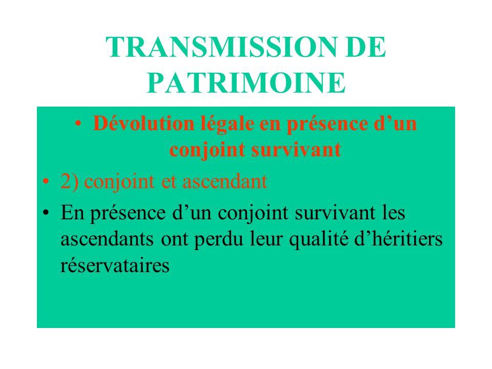 TRANSMISSION DE PATRIMOINE Dévolution légale en présence dun conjoint survivant 2) conjoint et ascendant En présence dun conjoint survivant les ascend
