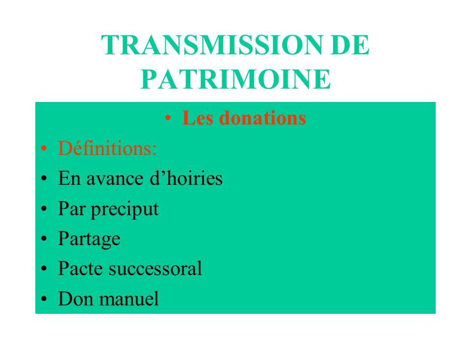 TRANSMISSION DE PATRIMOINE Les donations Définitions: En avance dhoiries Par preciput Partage Pacte successoral Don manuel
