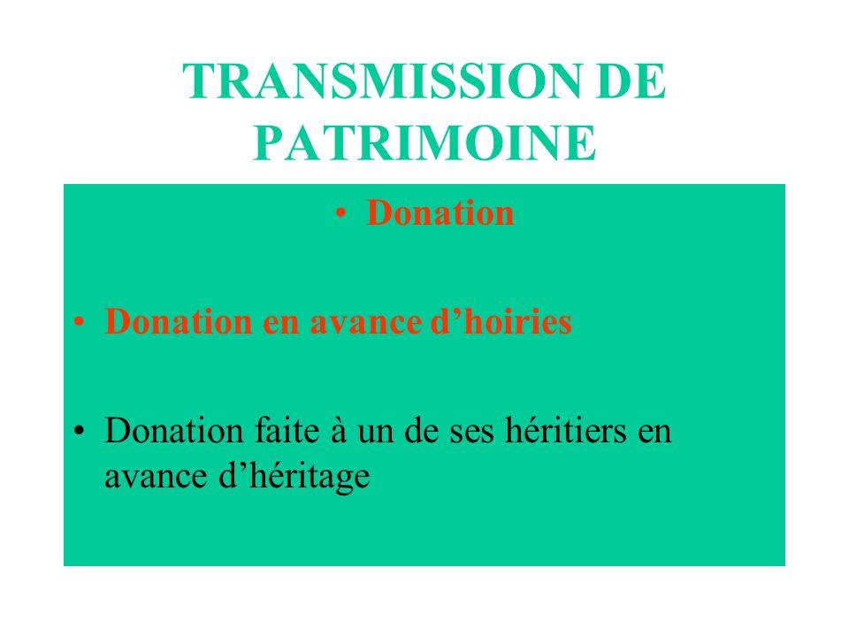 TRANSMISSION DE PATRIMOINE Donation Donation en avance dhoiries Donation faite à un de ses héritiers en avance dhéritage