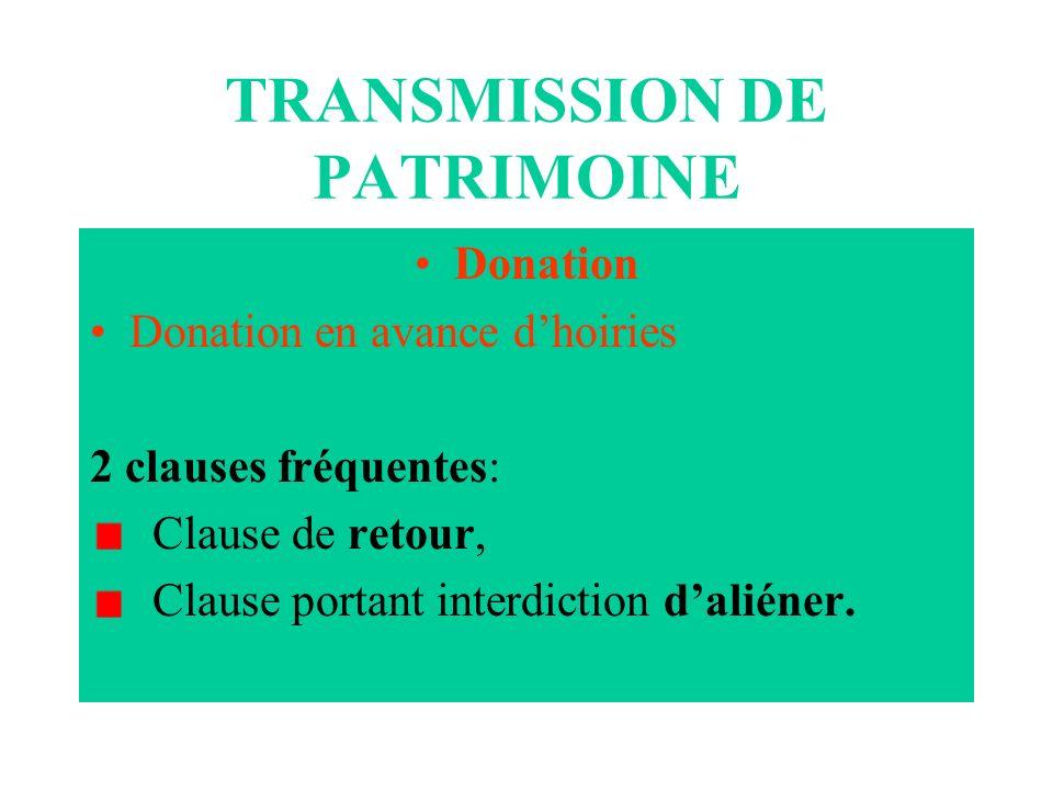 TRANSMISSION DE PATRIMOINE Donation Donation en avance dhoiries 2 clauses fréquentes: Clause de retour, Clause portant interdiction daliéner.