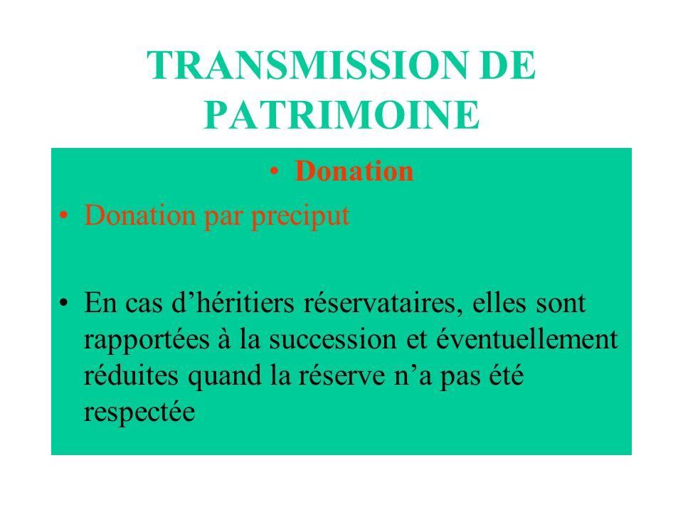TRANSMISSION DE PATRIMOINE Donation Donation par preciput En cas dhéritiers réservataires, elles sont rapportées à la succession et éventuellement réd