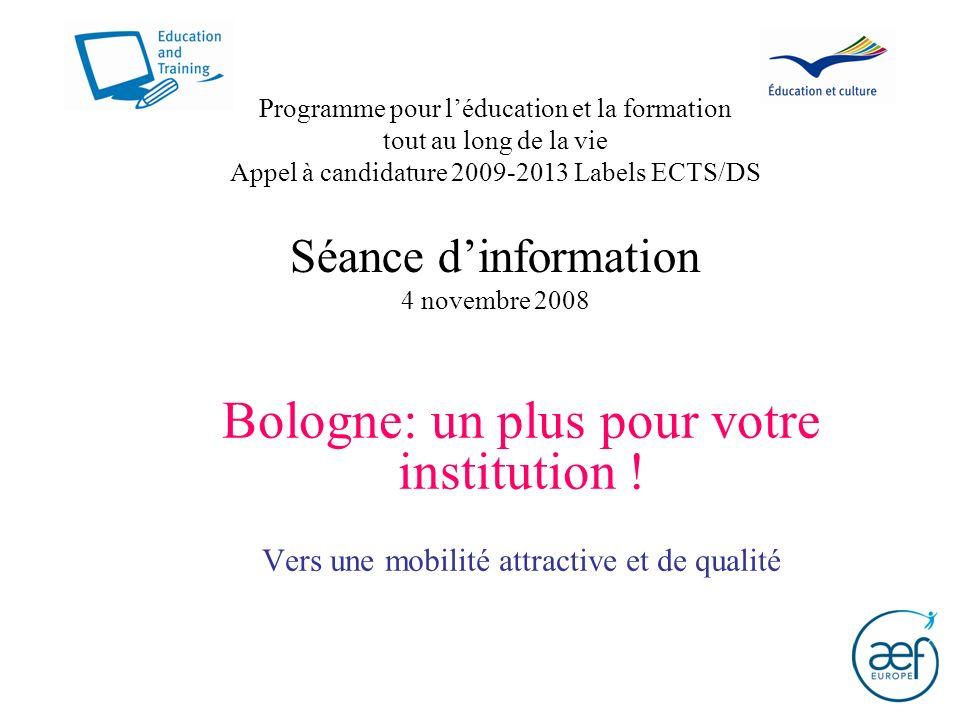 Programme pour léducation et la formation tout au long de la vie Appel à candidature 2009-2013 Labels ECTS/DS Séance dinformation 4 novembre 2008 Bolo