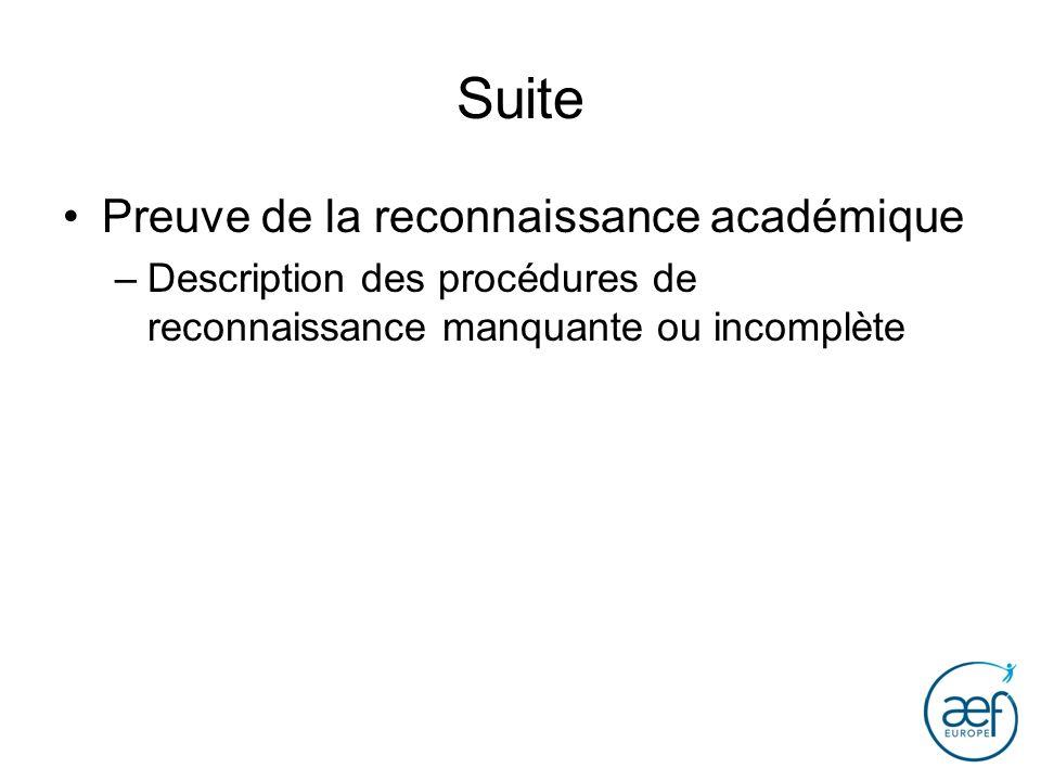 Suite Preuve de la reconnaissance académique –Description des procédures de reconnaissance manquante ou incomplète