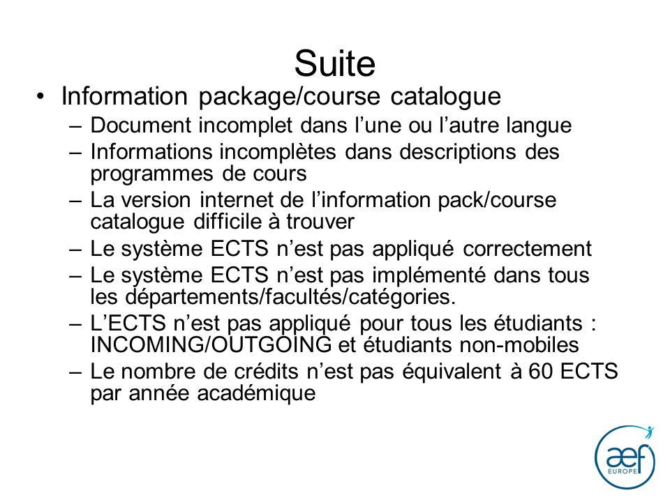 Suite Information package/course catalogue –Document incomplet dans lune ou lautre langue –Informations incomplètes dans descriptions des programmes d