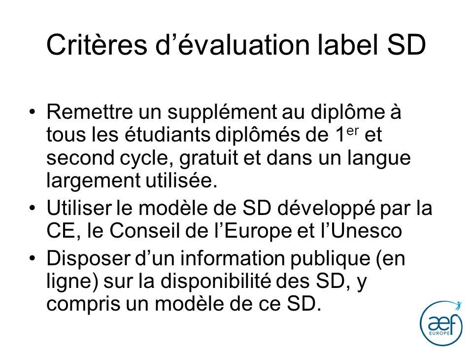 Critères dévaluation label SD Remettre un supplément au diplôme à tous les étudiants diplômés de 1 er et second cycle, gratuit et dans un langue large
