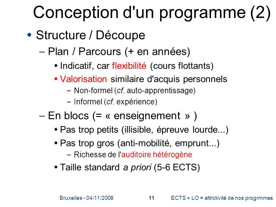 Conception d'un programme (2) Structure / Découpe – Plan / Parcours (+ en années) Indicatif, car flexibilité (cours flottants) Valorisation similaire