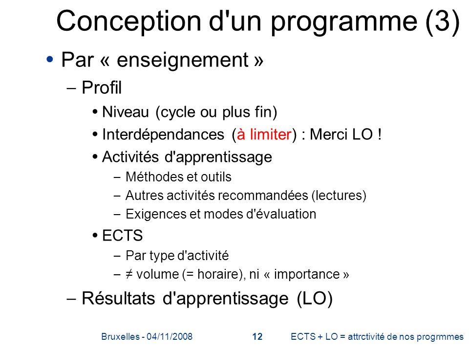Conception d'un programme (3) Par « enseignement » – Profil Niveau (cycle ou plus fin) Interdépendances (à limiter) : Merci LO ! Activités d'apprentis