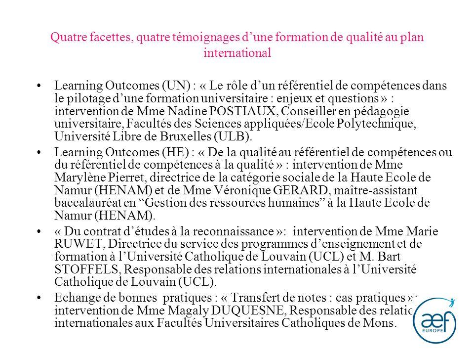 Quatre facettes, quatre témoignages dune formation de qualité au plan international Learning Outcomes (UN) : « Le rôle dun référentiel de compétences