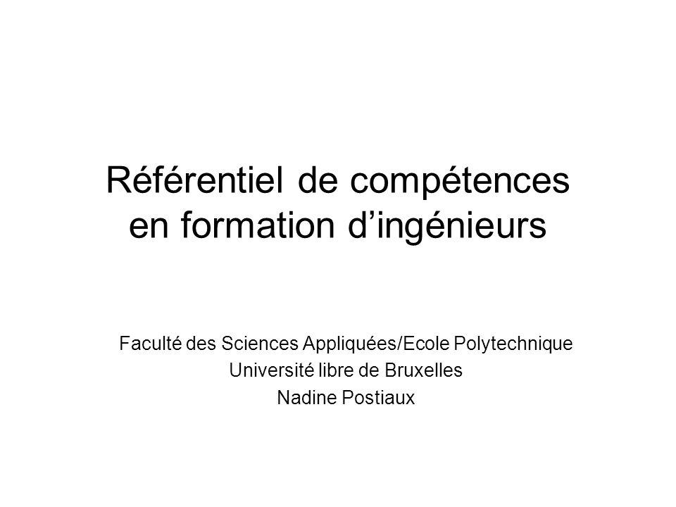 Référentiel de compétences en formation dingénieurs Faculté des Sciences Appliquées/Ecole Polytechnique Université libre de Bruxelles Nadine Postiaux
