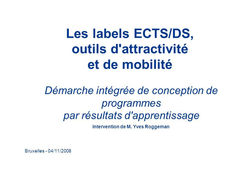 Bruxelles - 04/11/2008 Les labels ECTS/DS, outils d'attractivité et de mobilité Démarche intégrée de conception de programmes par résultats d'apprenti