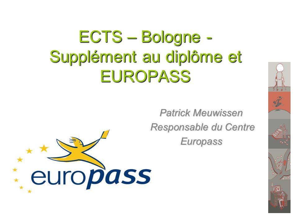 ECTS – Bologne - Supplément au diplôme et EUROPASS Patrick Meuwissen Responsable du Centre Responsable du CentreEuropass