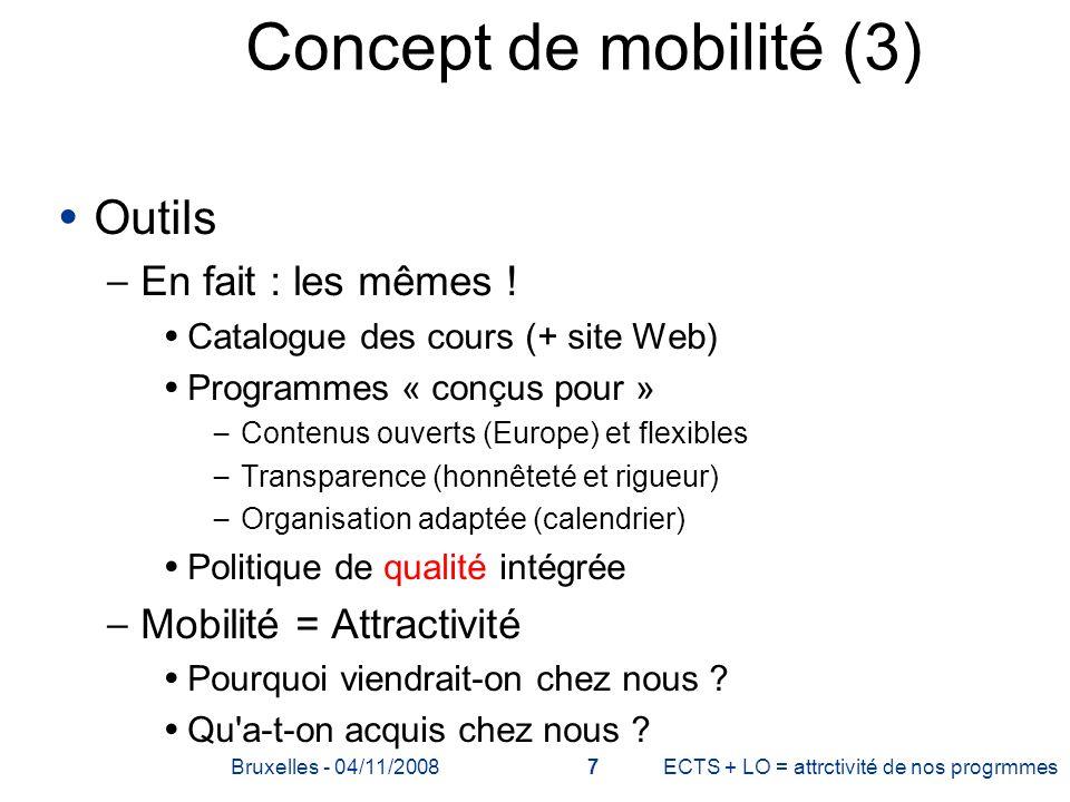 Concept de mobilité (3) Outils – En fait : les mêmes ! Catalogue des cours (+ site Web) Programmes « conçus pour » – Contenus ouverts (Europe) et flex