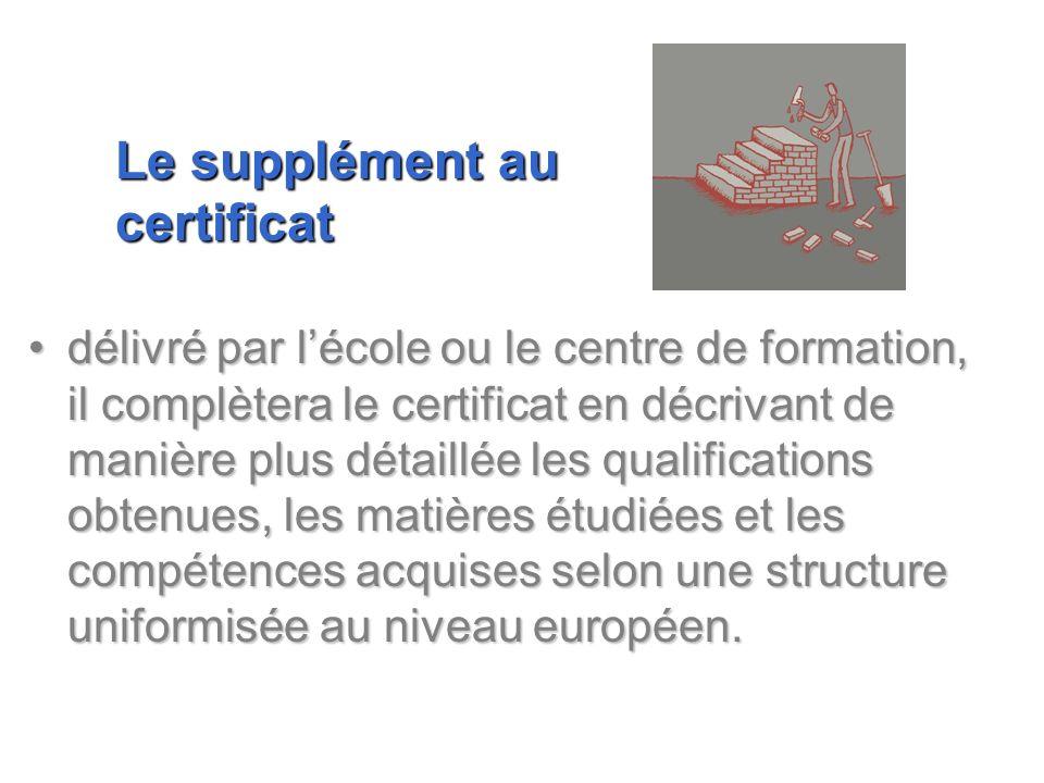 délivré par lécole ou le centre de formation, il complètera le certificat en décrivant de manière plus détaillée les qualifications obtenues, les mati