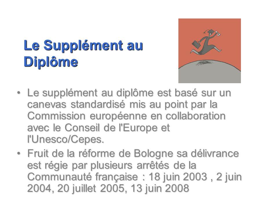 Le supplément au diplôme est basé sur un canevas standardisé mis au point par la Commission européenne en collaboration avec le Conseil de l'Europe et