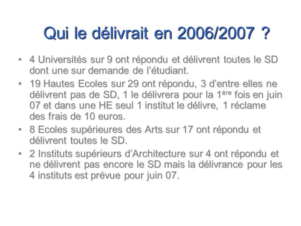 Qui le délivrait en 2006/2007 ? 4 Universités sur 9 ont répondu et délivrent toutes le SD dont une sur demande de létudiant.4 Universités sur 9 ont ré