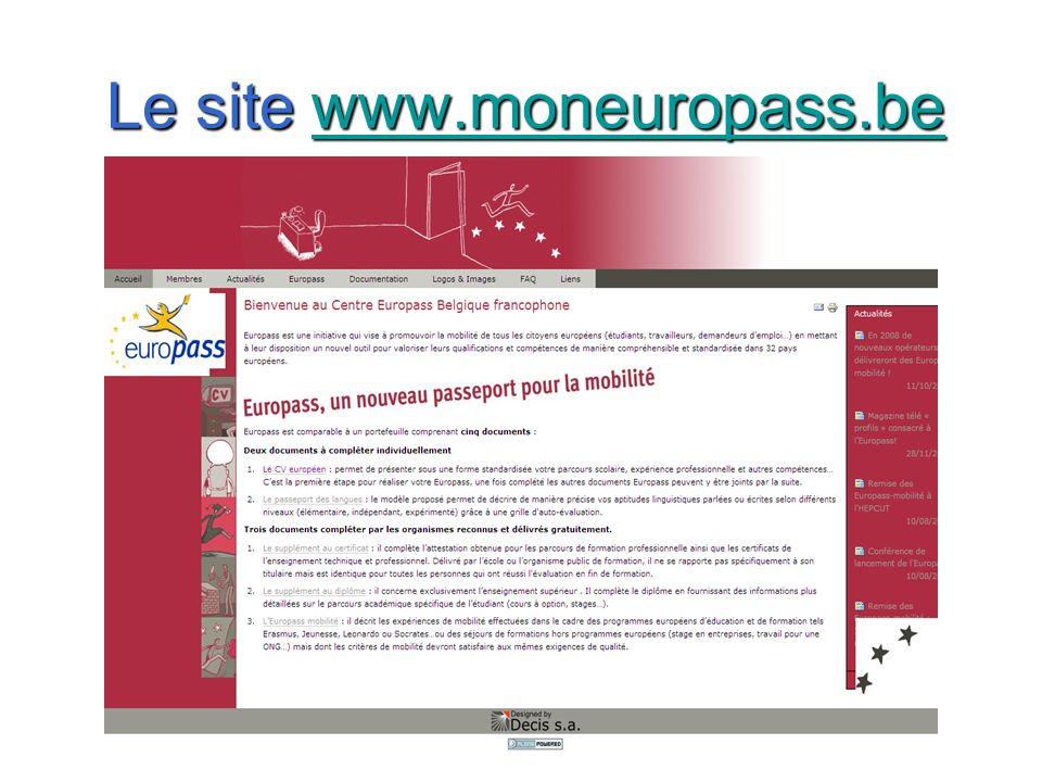 Le site www.moneuropass.be www.moneuropass.be