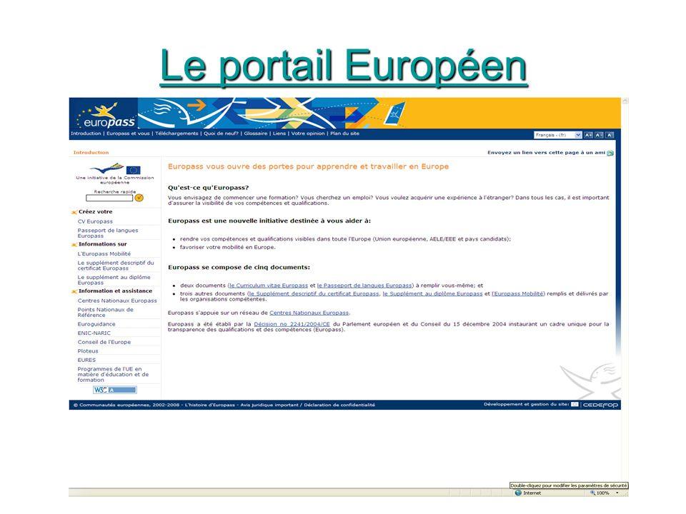 Le portail Européen Le portail Européen