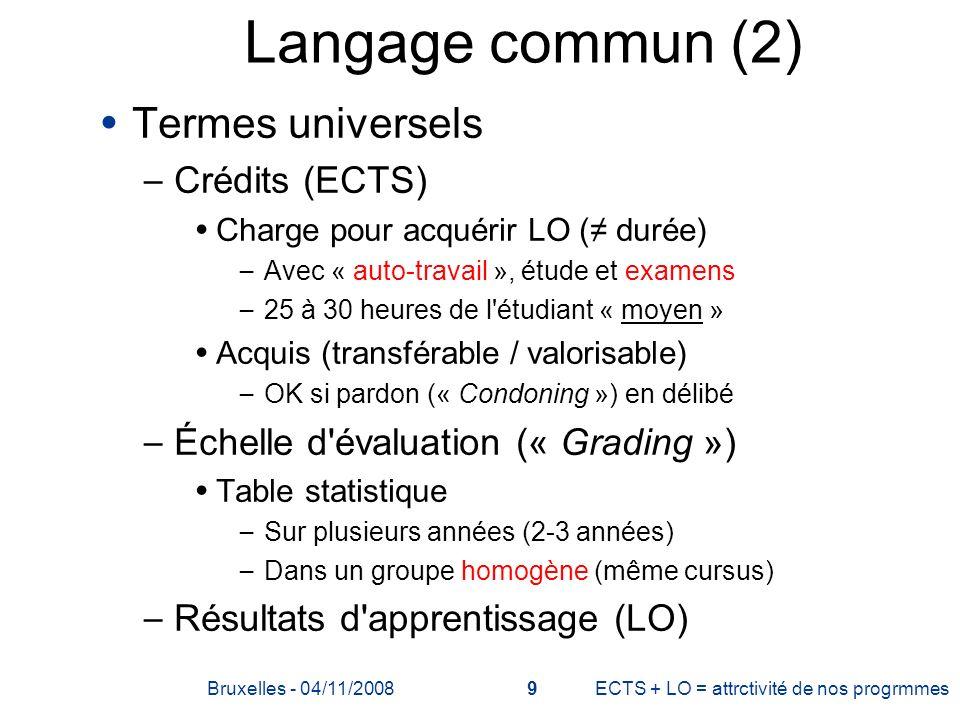 Langage commun (2) Termes universels – Crédits (ECTS) Charge pour acquérir LO ( durée) – Avec « auto-travail », étude et examens – 25 à 30 heures de l