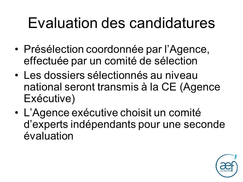 Evaluation des candidatures Présélection coordonnée par lAgence, effectuée par un comité de sélection Les dossiers sélectionnés au niveau national ser