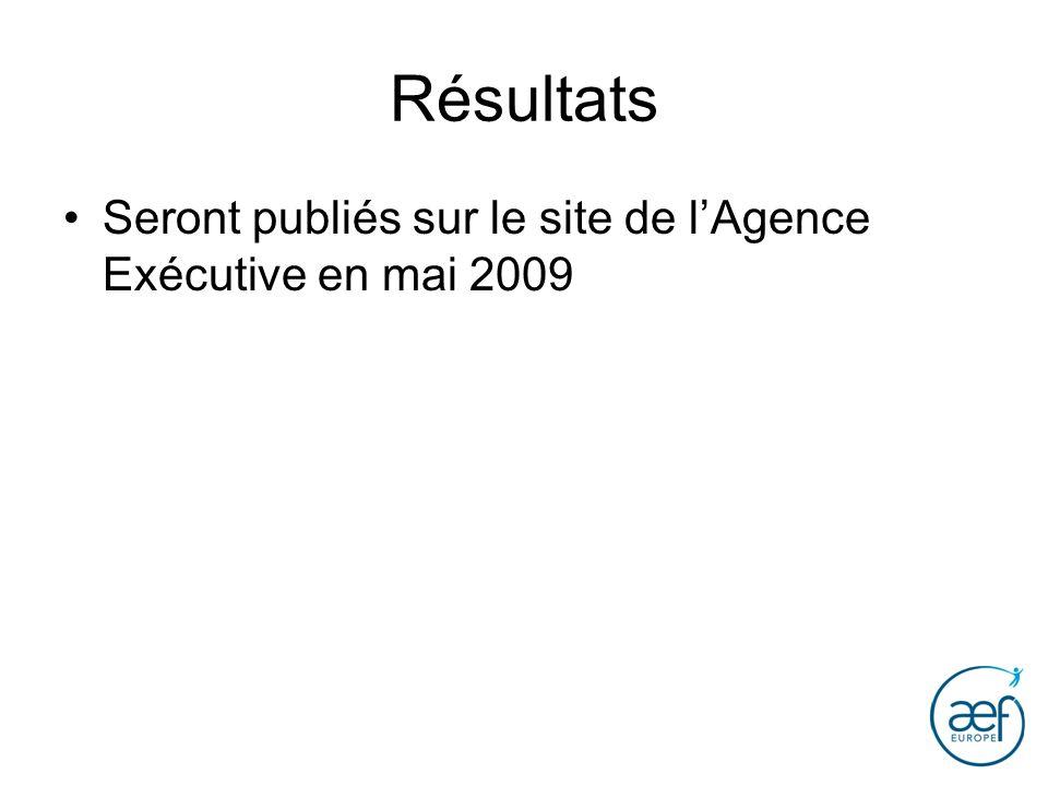 Résultats Seront publiés sur le site de lAgence Exécutive en mai 2009