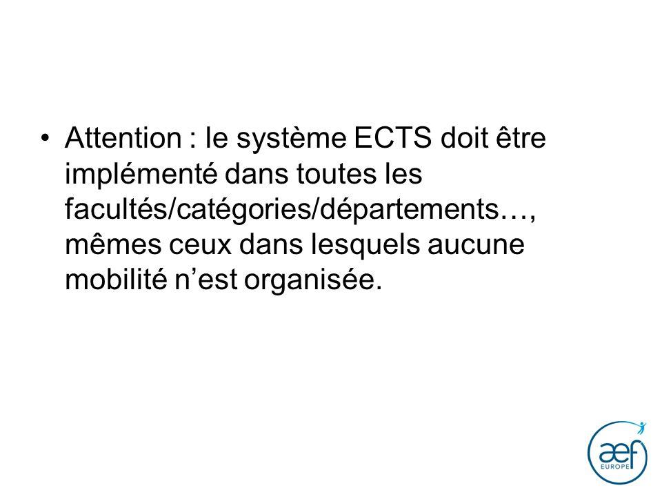 Attention : le système ECTS doit être implémenté dans toutes les facultés/catégories/départements…, mêmes ceux dans lesquels aucune mobilité nest orga