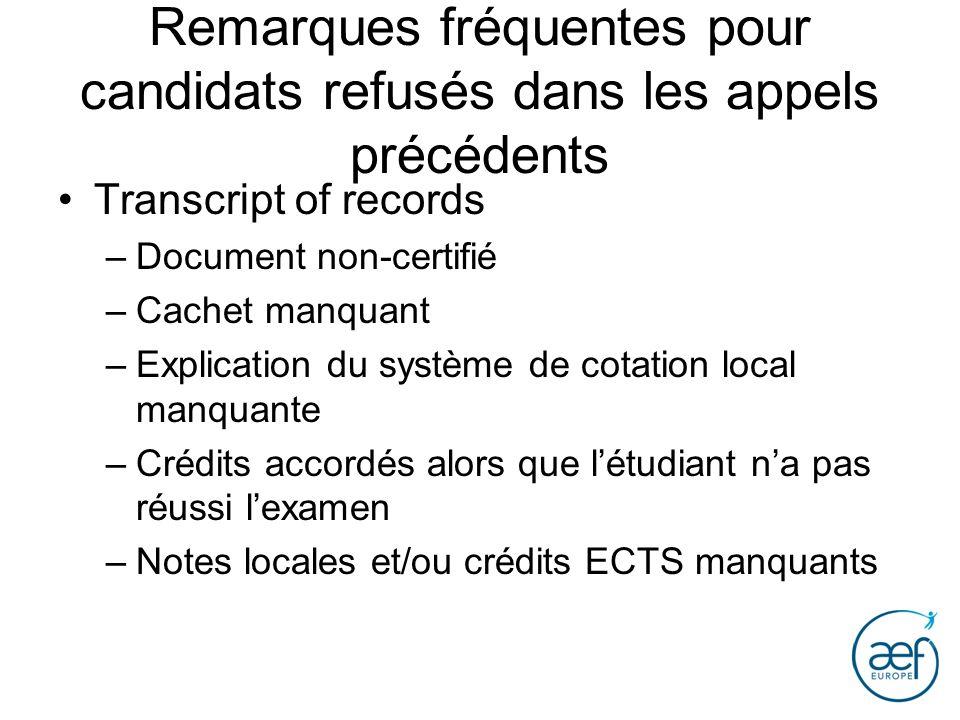 Remarques fréquentes pour candidats refusés dans les appels précédents Transcript of records –Document non-certifié –Cachet manquant –Explication du s