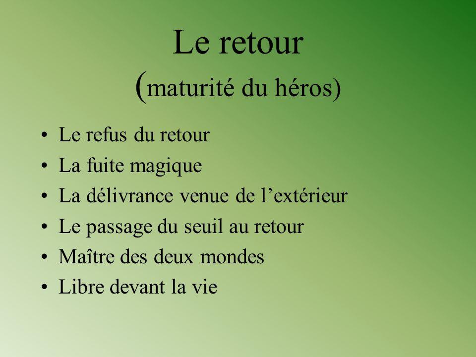 Le retour ( maturité du héros) Le refus du retour La fuite magique La délivrance venue de lextérieur Le passage du seuil au retour Maître des deux mon