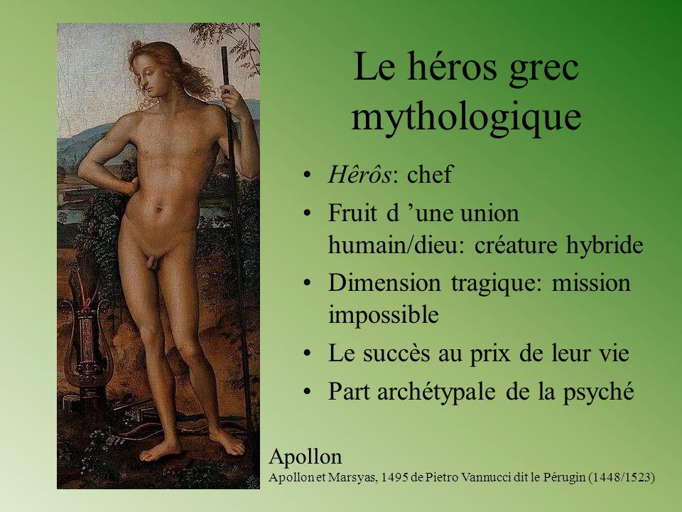 Le héros grec mythologique Hêrôs: chef Fruit d une union humain/dieu: créature hybride Dimension tragique: mission impossible Le succès au prix de leu