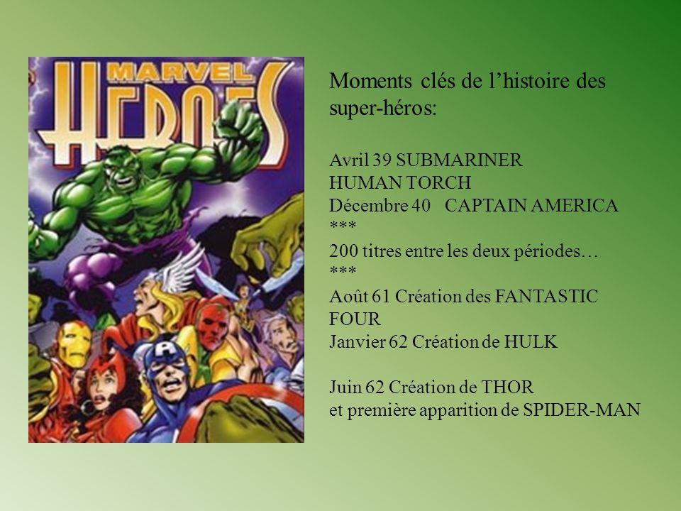 Moments clés de lhistoire des super-héros: Avril 39 SUBMARINER HUMAN TORCH Décembre 40 CAPTAIN AMERICA *** 200 titres entre les deux périodes… *** Aoû