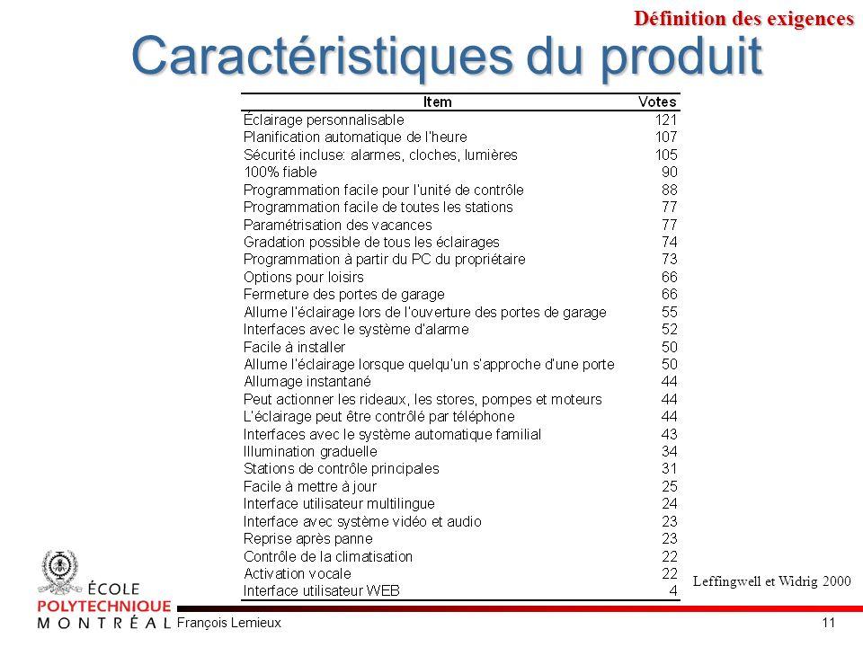 François Lemieux Caractéristiques du produit Leffingwell et Widrig 2000 Définition des exigences 11